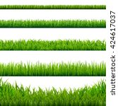 big grass borders set | Shutterstock . vector #424617037