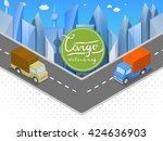 delivery of goods in urban... | Shutterstock .eps vector #424636903