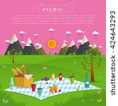 outdoor picnic in mountains... | Shutterstock .eps vector #424643293