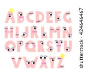 cute abstract alphabet with... | Shutterstock .eps vector #424646467