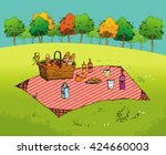 outdoor picnic in park  hand... | Shutterstock .eps vector #424660003