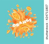 fresh orange fruit juice splash | Shutterstock .eps vector #424711807