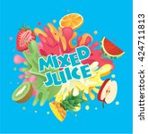 mixed fruit juice splash with... | Shutterstock .eps vector #424711813