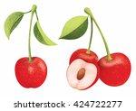 vector fresh ripe red cherries... | Shutterstock .eps vector #424722277