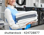 Worker Laundry Girl Holding...
