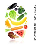 color fruits and vegetables on...   Shutterstock . vector #424746157