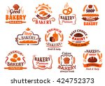french baguettes and croissants ... | Shutterstock .eps vector #424752373