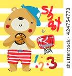 Cartoon Teddy Bear Holding...