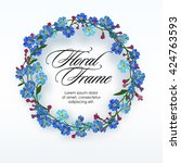 floral wreath with spring... | Shutterstock .eps vector #424763593