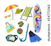 vector set of summer objects... | Shutterstock .eps vector #424771363
