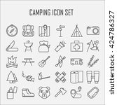 camping icons.  backpack  axe ... | Shutterstock .eps vector #424786327