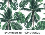 tropical jungle palm leaves ... | Shutterstock .eps vector #424790527