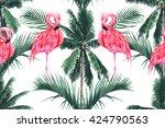 pink flamingos  exotic birds ... | Shutterstock .eps vector #424790563
