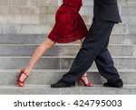 Man And Woman Dancing Tango On...