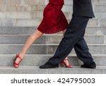 Man And Woman Dancing Tango On...