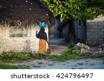 african woman  village... | Shutterstock . vector #424796497