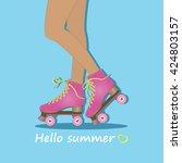 hello summer. summer time.... | Shutterstock .eps vector #424803157