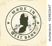 grunge stamp with map of west... | Shutterstock .eps vector #424823647