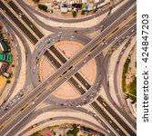 aerial view of highway... | Shutterstock . vector #424847203
