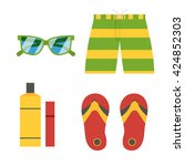 beach accessories vector icons... | Shutterstock .eps vector #424852303