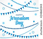 jerusalem day greeting card... | Shutterstock .eps vector #424860343