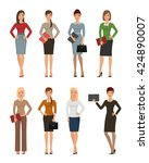 business women in various poses ... | Shutterstock .eps vector #424890007