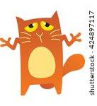 sorry cat raising his hands.... | Shutterstock .eps vector #424897117
