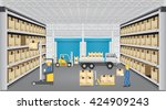 forklift working with cargo... | Shutterstock .eps vector #424909243