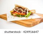 doner kebab side view on...   Shutterstock . vector #424916647