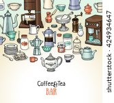 coffee and tea sketchy banner.