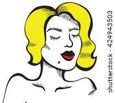 retro girl with a mole. hand...   Shutterstock .eps vector #424943503