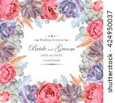 wedding invitation with peony... | Shutterstock .eps vector #424950037