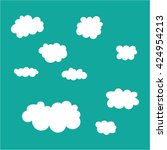 cute white cloud shapes... | Shutterstock .eps vector #424954213
