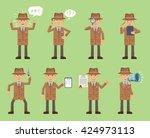 set of detective characters... | Shutterstock .eps vector #424973113