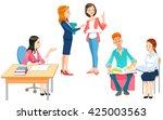 cute teacher  vector... | Shutterstock .eps vector #425003563