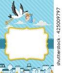 card with a cartoon stork... | Shutterstock .eps vector #425009797
