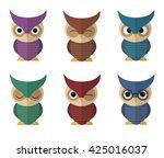 set colorful vector owls owl... | Shutterstock .eps vector #425016037