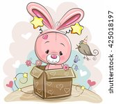 birthday card with cute rabbit... | Shutterstock .eps vector #425018197