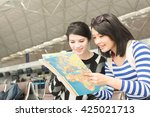 asian woman with her friend... | Shutterstock . vector #425021713