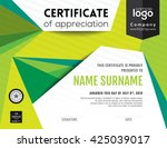 modern certificate with green... | Shutterstock .eps vector #425039017