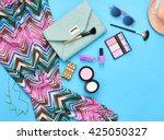urban summer girl colorful... | Shutterstock . vector #425050327