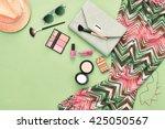 woman essentials. unusual... | Shutterstock . vector #425050567