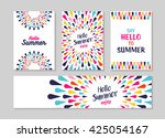 hello summer lettering label or ... | Shutterstock .eps vector #425054167