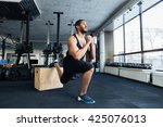 muscular fitness man doing... | Shutterstock . vector #425076013