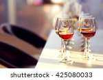many glasses of different wine... | Shutterstock . vector #425080033