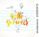 hello summer. summer holidays... | Shutterstock .eps vector #425093473