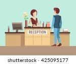 customer at reception.... | Shutterstock .eps vector #425095177