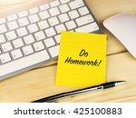 do homework on sticky note on... | Shutterstock . vector #425100883