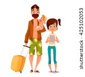 cartoon father and his children ... | Shutterstock .eps vector #425102053