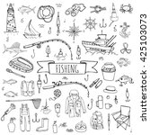 hand drawn doodle fishing icons ... | Shutterstock .eps vector #425103073